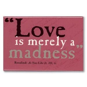 MAGNET OBLONG SHAKESPEARE - LOVE IS MERELY A MADNESS