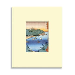 POSTCARD WOODEN JAPANESE ARTS - SMALL PORT AND INLET AWA